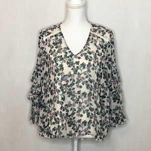 Fever Floral Ruffled Bell Sleeve Top with Cami